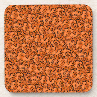 Retro Abstract Flowers Tangerine Orange Cork Coast Drink Coaster