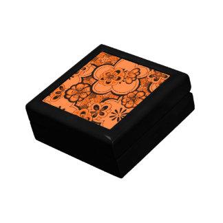 Retro Abstract Flowers Tangerine Orange Gift Box