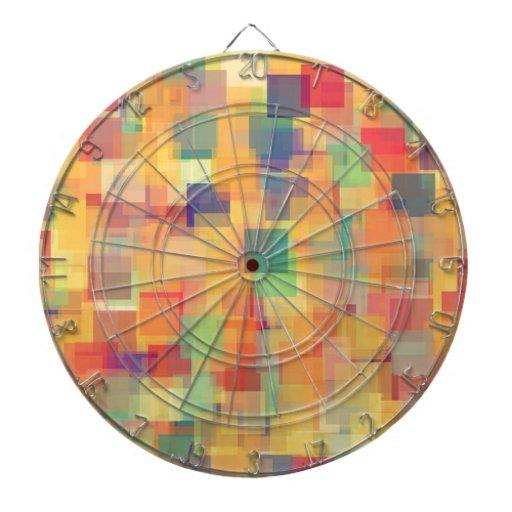 Retro Abstract Rainbow Art Design Dartboard With Darts