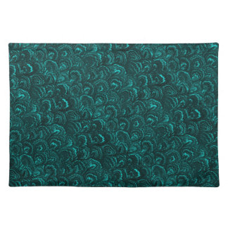 Retro Abstract Swirls Aquamarine Teal Turquoise Placemats