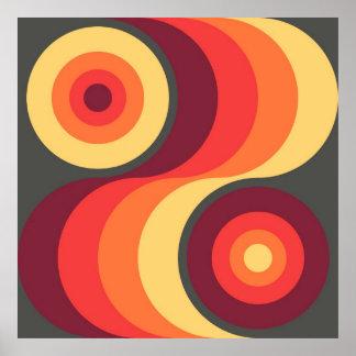 Retro Abstract Wavy Rainbow Squares Abstract Art Poster