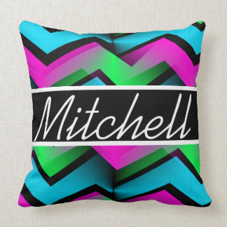 Retro Abstract Zigzag Black Personalized Cushion