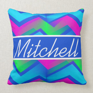 Retro Abstract Zigzag Blue Personalized Cushion