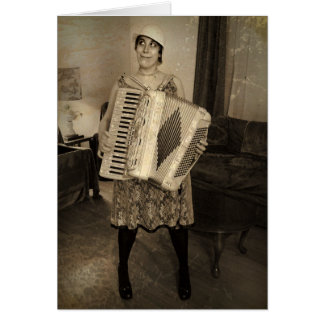 Retro Accordion Girl Card