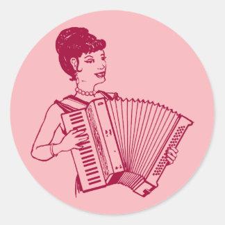 Retro Accordion Lady Round Sticker