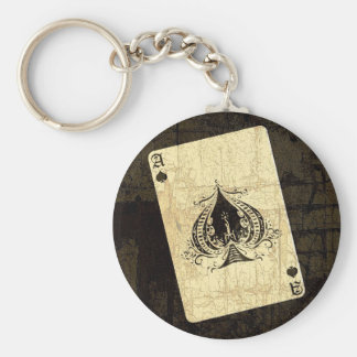 Retro Ace of Spades Key Ring