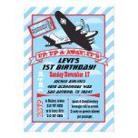 Retro Aeroplane Birthday Party Invitations