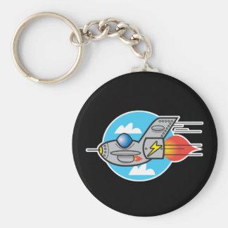 retro aeroplane jet basic round button key ring