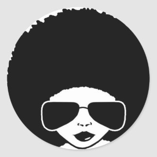 retro Afro girl Classic Round Sticker