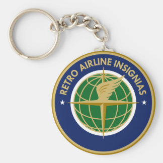 Retro Airline Insignias Basic Round Button Key Ring