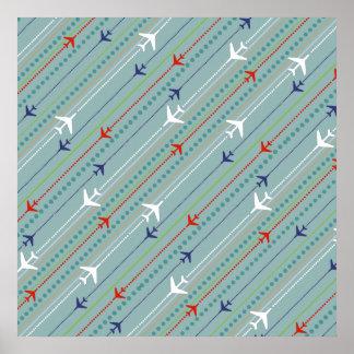 Retro Airplane Pattern Poster
