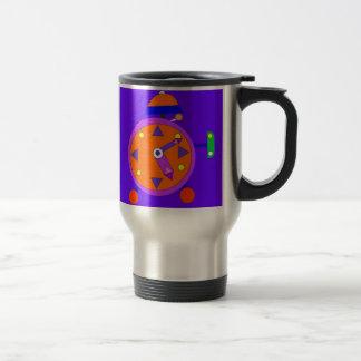 retro alarm clock on a travel mug