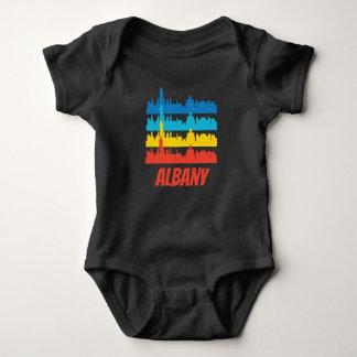 Retro Albany NY Skyline Pop Art Baby Bodysuit