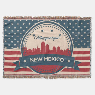 Retro Alberquerque New Mexico Skyline Throw Blanket