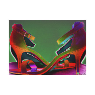 Retro all the way..chic and colourful wall canvas. gallery wrapped canvas