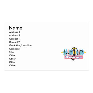 retro alley cats lounge sign business card templates