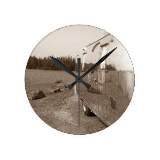 Retro Aluminum Trailer Clock Vintage Reflection