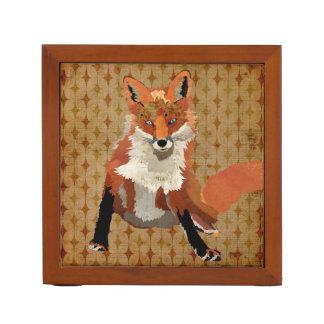 Retro Amber Fox Desk Organiser