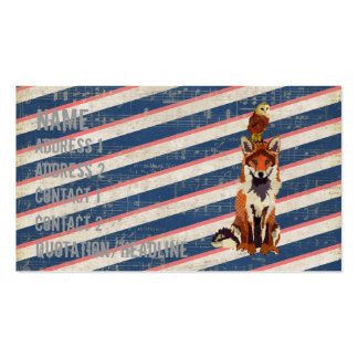 Retro Amber Fox & Owl  Business Card