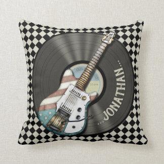 Retro Americana Electric Guitar And Vinyl Record Cushion
