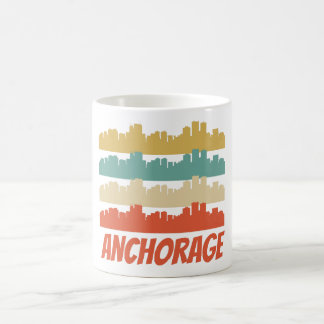 Retro Anchorage AK Skyline Pop Art Coffee Mug