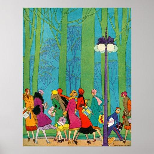 Retro and Art Deco Poster Print Print