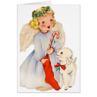Retro Angel and Little Lamb Christmas Card