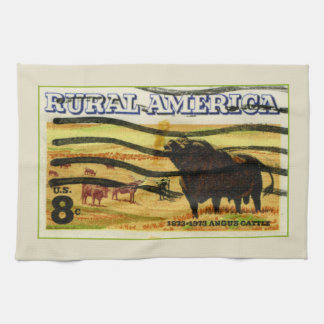 Retro Angus Cattle Tea Towel