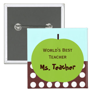 Retro Apple Persoanlized Teacher Gifts 15 Cm Square Badge
