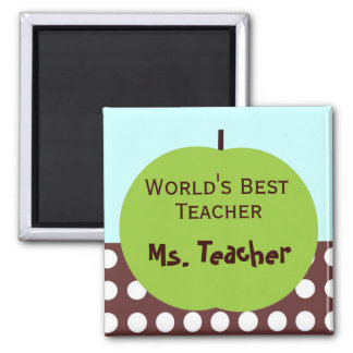 Retro Apple Persoanlized Teacher Gifts Square Magnet