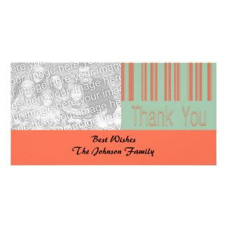 Retro aqua and orange stipes personalized photo card
