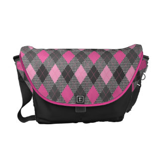Retro Argyle Classic Houndstooth Gray and Pink Commuter Bag