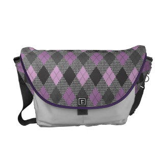 Retro Argyle Classic Houndstooth Gray and Purple Messenger Bags