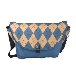Retro Argyle Dusty Blue Skies Commuter Bag