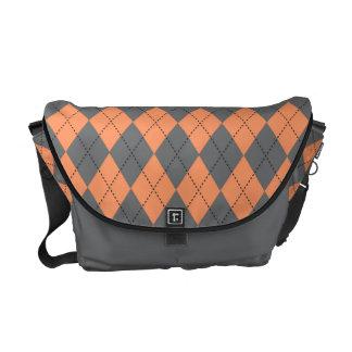 Retro Argyle Gray and Pale Orange Courier Bags