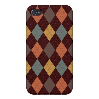 Retro Argyle Trendy Earth Tone Elegance iPhone 4 Case