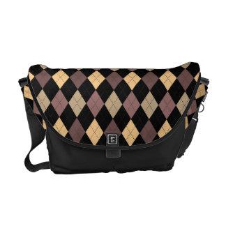 Retro Argyle Trendy Earth Tones Messenger Bags