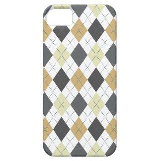 Retro Argyle Trendy Gray Black Gold iPhone 5 Case