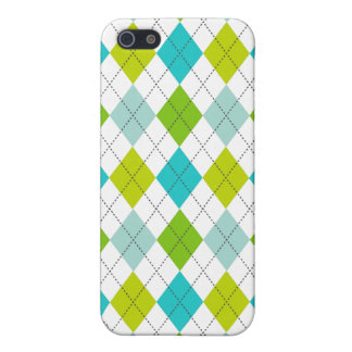 Retro Argyle Trendy Teal LIme Blue Fun Case For iPhone 5/5S