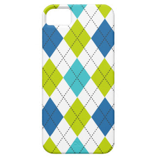 Retro Argyle Trendy Teal LIme Blue Fun Case For The iPhone 5