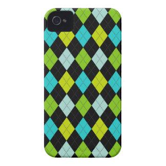 Retro Argyle Trendy Teal LIme Blue Fun iPhone 4 Cases