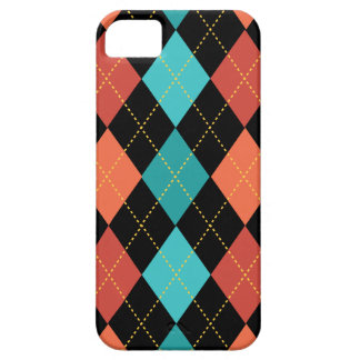 Retro Argyle Trendy Teal Mandarin Barely There iPhone 5 Case