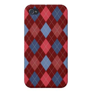 Retro Argyle Trendy USA Red Blue iPhone 4/4S Cover