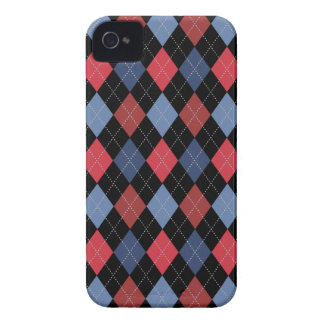 Retro Argyle Trendy USA Red Blue iPhone 4 Case-Mate Case