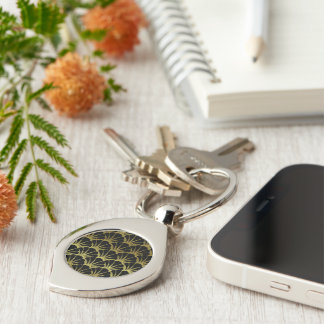 Retro Art Deco Black / Gold Shell Scale Pattern Silver-Colored Swirl Key Ring