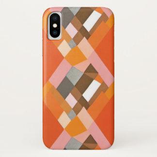 Retro Art Deco Vintage Jazz Orange Diamond Pattern iPhone X Case