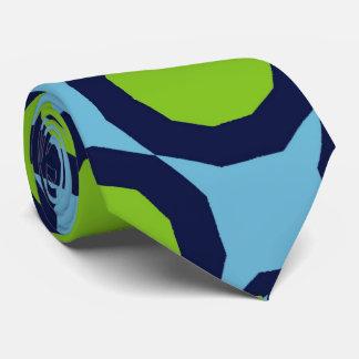 RETRO ART FASHION TIE GIANT BLUE GREEN CIRCLES
