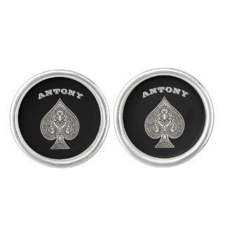 Retro Artistic Poker Ace Of Spades Personalized Cufflinks