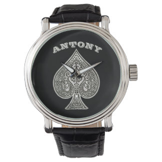 Retro Artistic Poker Ace Of Spades Personalized Watch