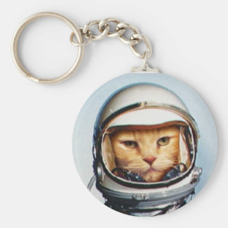 Retro Astronaut Cat Basic Round Button Key Ring